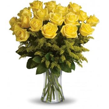 Ramo de rosas amarillas de tallo largo