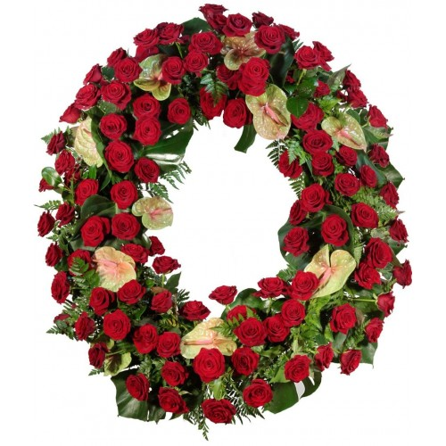 Corona de rosas y anthurium